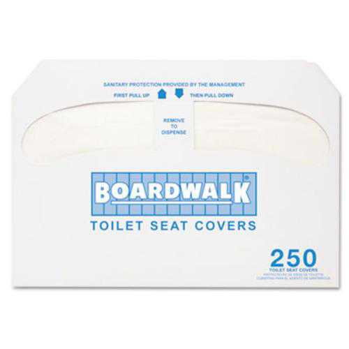 Boardwalk K2500 Premium Half-fold Toilet Seat Covers, 250 Covers/sleeve, 10 Sleeves/carton