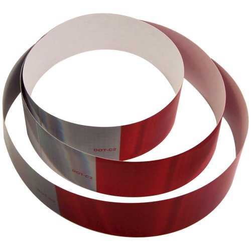 DOT-C2 2 inch x 18 inch (3)Strips 10 Year Reflexite Retroreflective Tape 11 inch Red 7 inch White