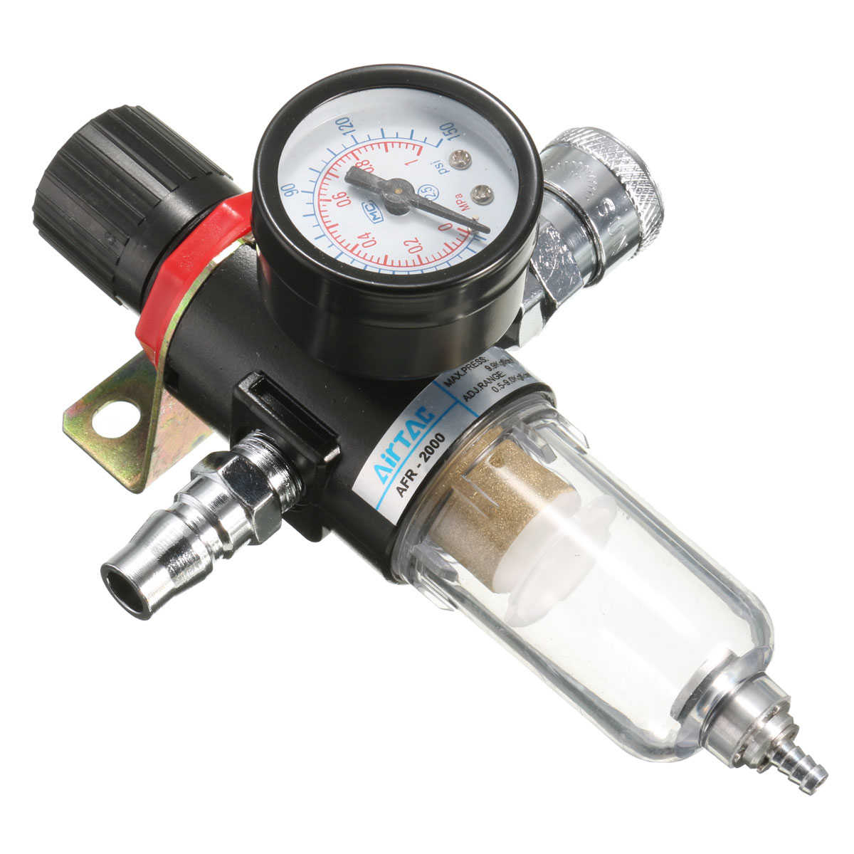 130PSI Air Compressor Filter Moisture Water Trap Filter Separator Pressure Regulator Gauge Tools (Psi & MPa Display)