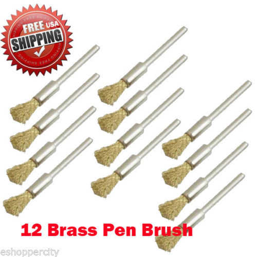 MTP  Pack of 12 Rotary Brass Small Brush Dremel 443 442 428 8220-2/28 395 4000 1/8' Shank Clean Polish Tool Jewelry Stone Hobby
