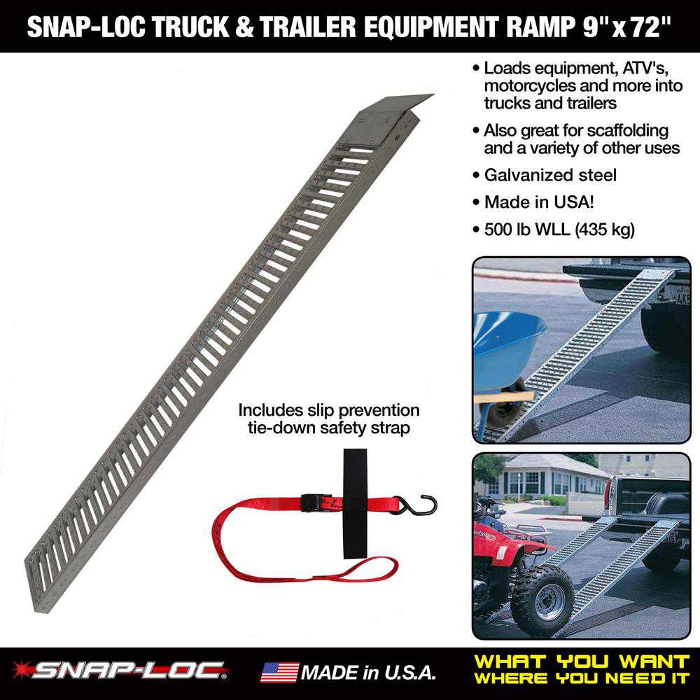 TRUCK & TRAILER EQUIPMENT RAMP 9'x72' with Safety Cam Strap