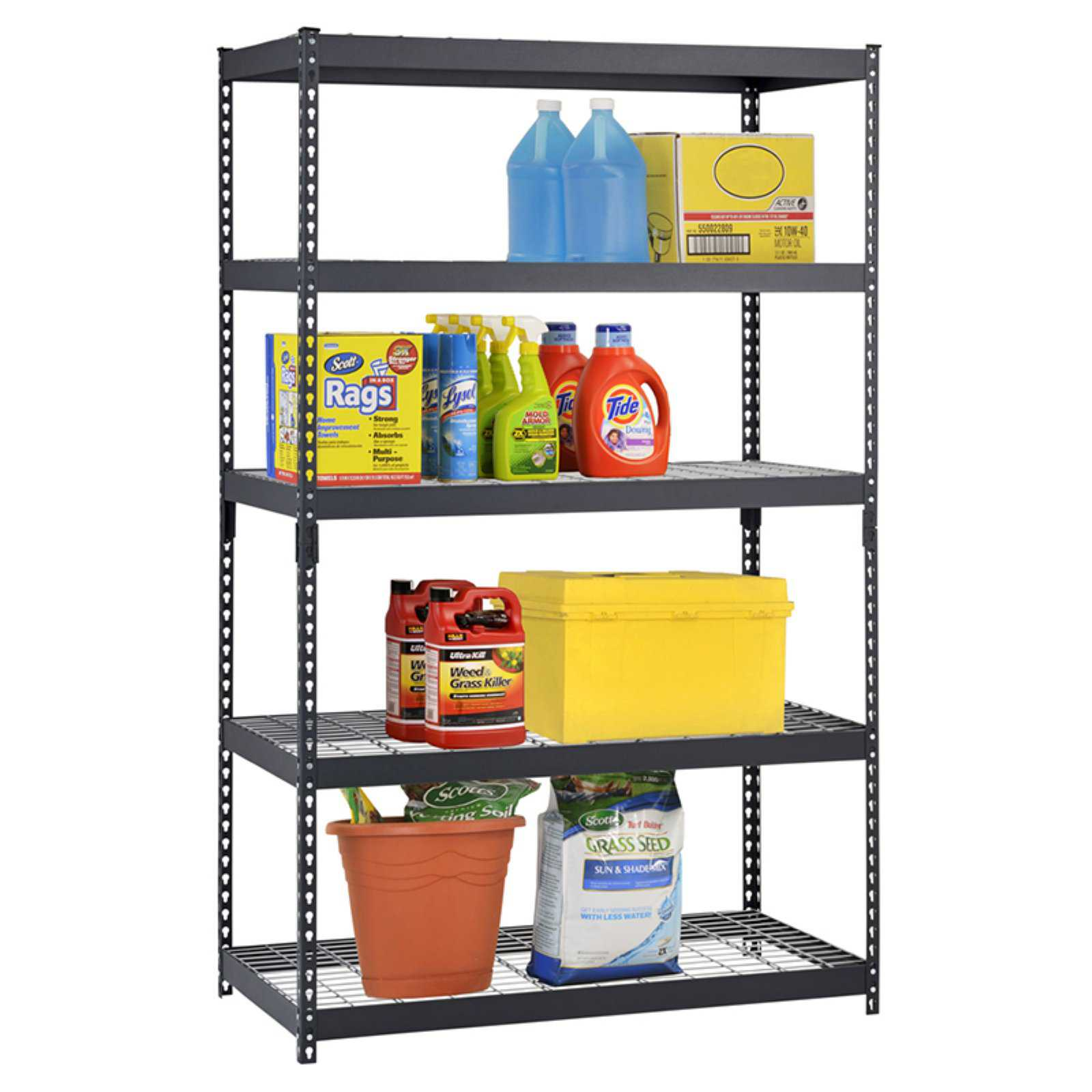 Muscle Rack 48'W x 24'D x 78'H Five-Shelf Heavy-Duty Steel Shelving Unit, Black